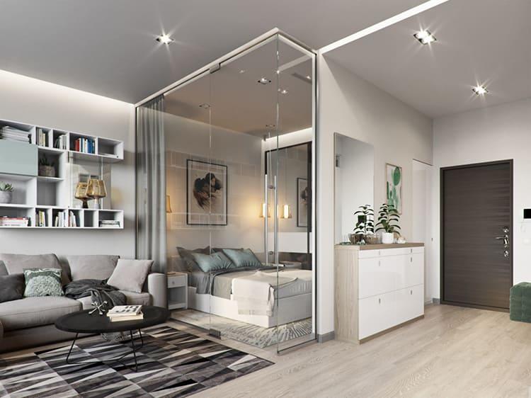 Квартира-студия с квадратной планировкойФОТО: housesdesign.ru