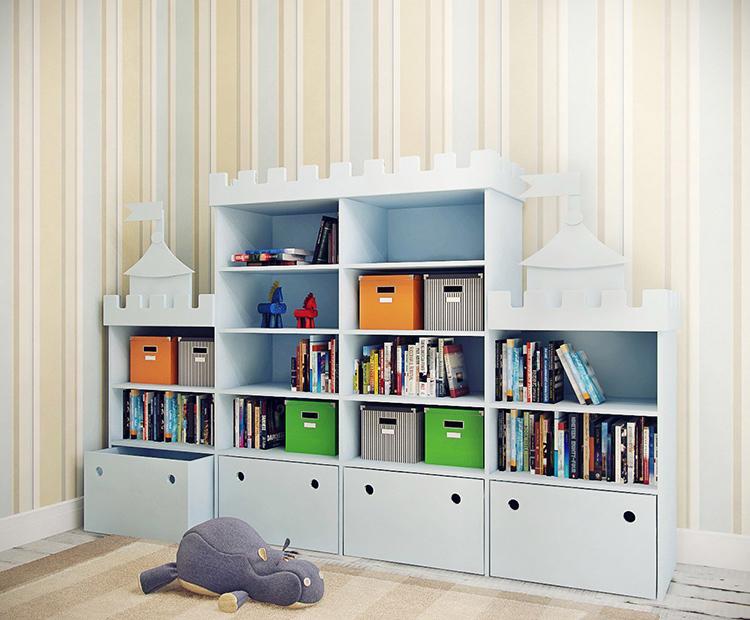 Стеллажи для детской могут иметь самую различную конфигурациюФОТО: dekoriko.ru