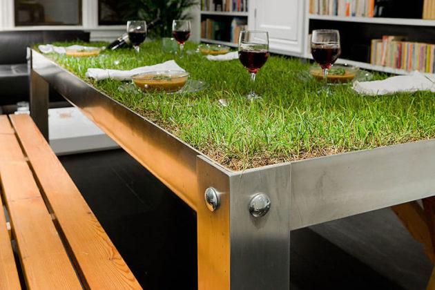 Допустимы даже такие смелые эксперименты, как этот стол – газон с настоящей зеленьюФОТО: woodyoubuyit.files.wordpress.com