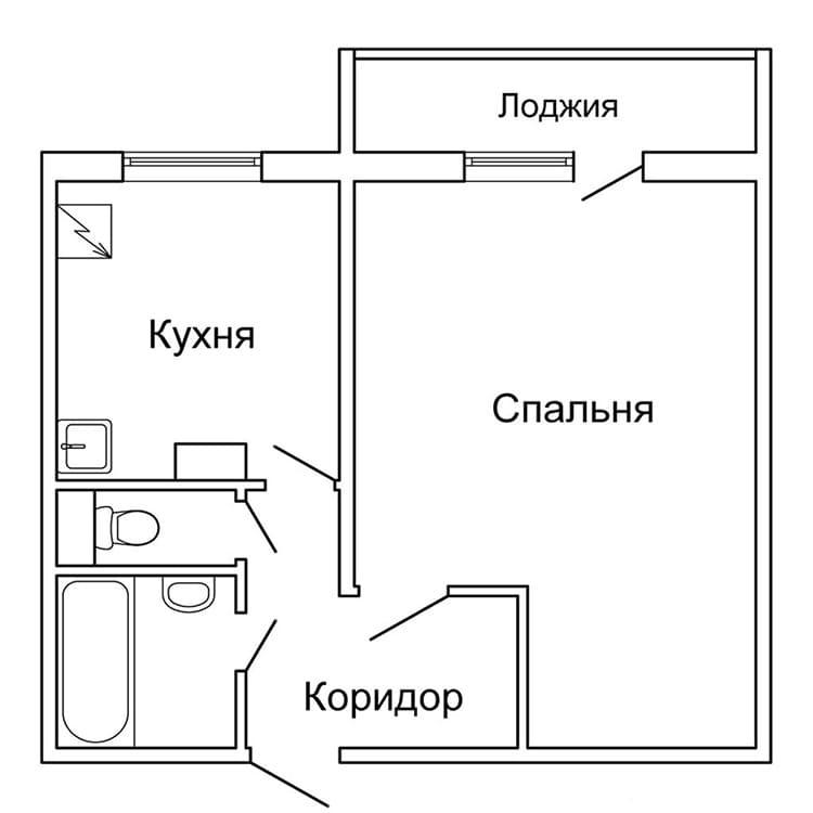 План типовой однокомнатной квартирыФОТО: static.imfast.com