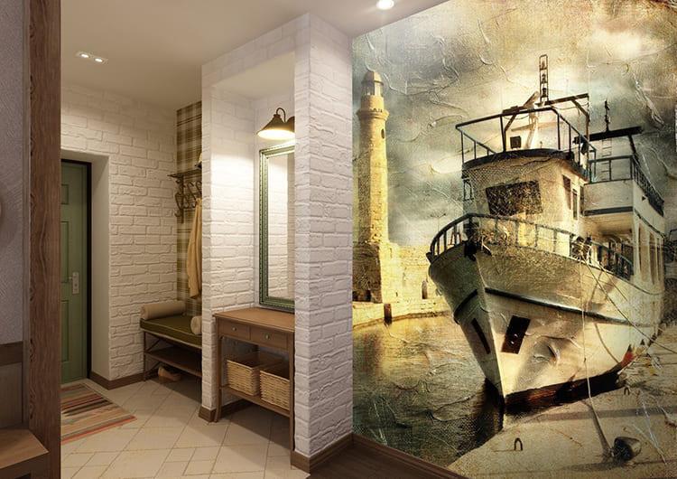 Довольно распространённый приём – использование фотообоев и фресок на стене в небольшом помещении. Такие изображения визуально ломают пространство, давая ощущение простора. Важно гармонично вписать такой декор в общую концепцию, чтобы он смотрелся продолжением стены, а не чем-то чужероднымФОТО: artsten.ru