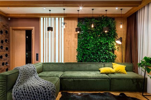 Зелёная стена из живых растений – популярный декор в эко-стиле, привлекающий вниманиеФОТО: mayertrade.com.ua