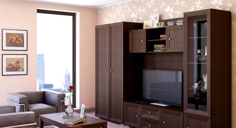 Стенка цвета «венге» в интерьере гостиной