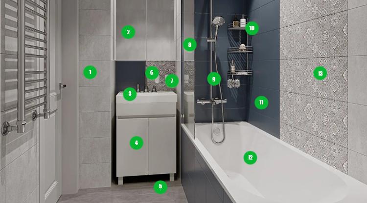 Строгая, современная и практичная ванная