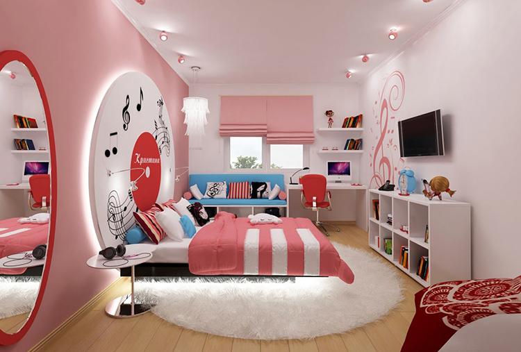 Зефирная комната с основным и декоративным освещением для девочки-подросткаФОТО:remont-samomy.ru