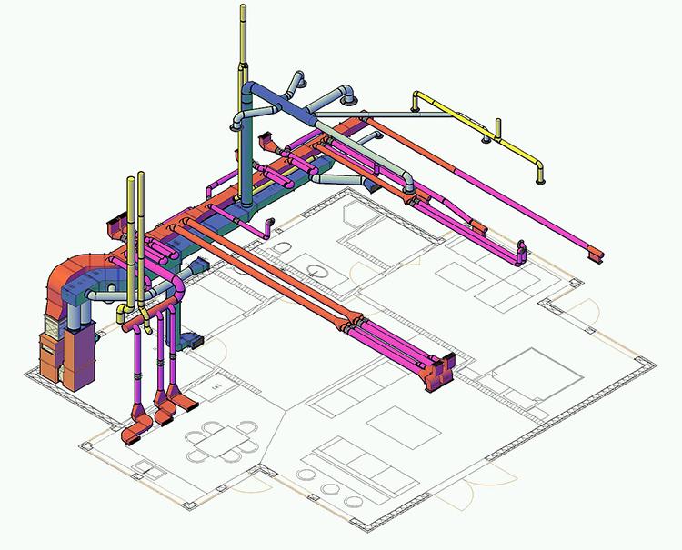 При проектировании воздушного отопления частного дома продумывается расположение каждого воздуховодаФОТО: dslprof.ru