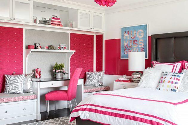 Вкрапление кораллового цвета в белой спальнеФОТО:cdn.deringhall.com