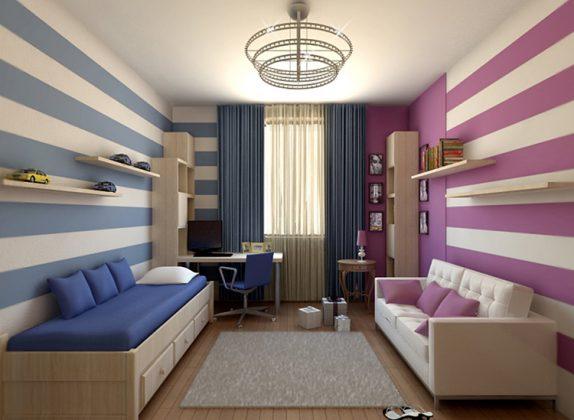 Цветовое зонирование комнаты для двух детейФОТО:o-krohe.ru