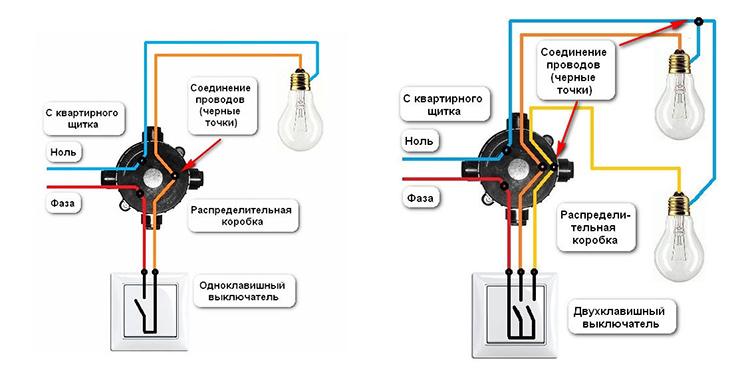 Подключение люстры к выключателю с одной или двумя клавишамиФОТО: brilux.com.ua