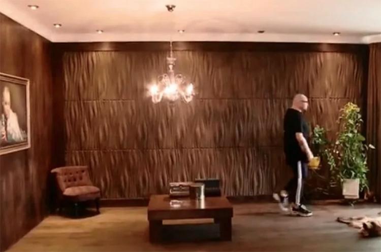 Гостиная оформлена в коричневой гамме, для отделки стен использованы декоративные панелиФОТО: vokrug.tv