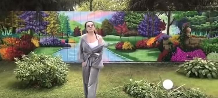 Художники нарисовали на деревянном заборе со стороны участка живописный пейзаж, это стало настоящим подарком Наташе от супругаФОТО: youtube.com