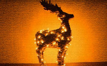 Светящийся олень для праздничного декора дома и двора