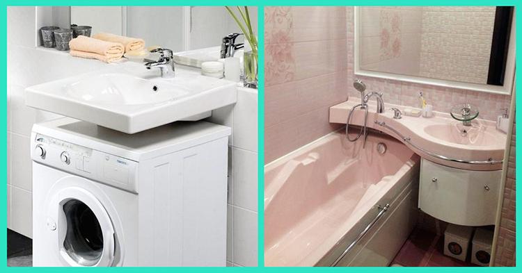 Для маленьких ванных комнат лучше всего устанавливать раковину над стиральной машиной