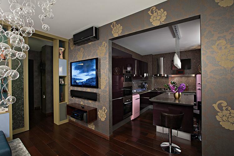 Не забывайте о том, что арка на кухне обязывает вас создавать единый стиль, как кухни так и смежного помещения