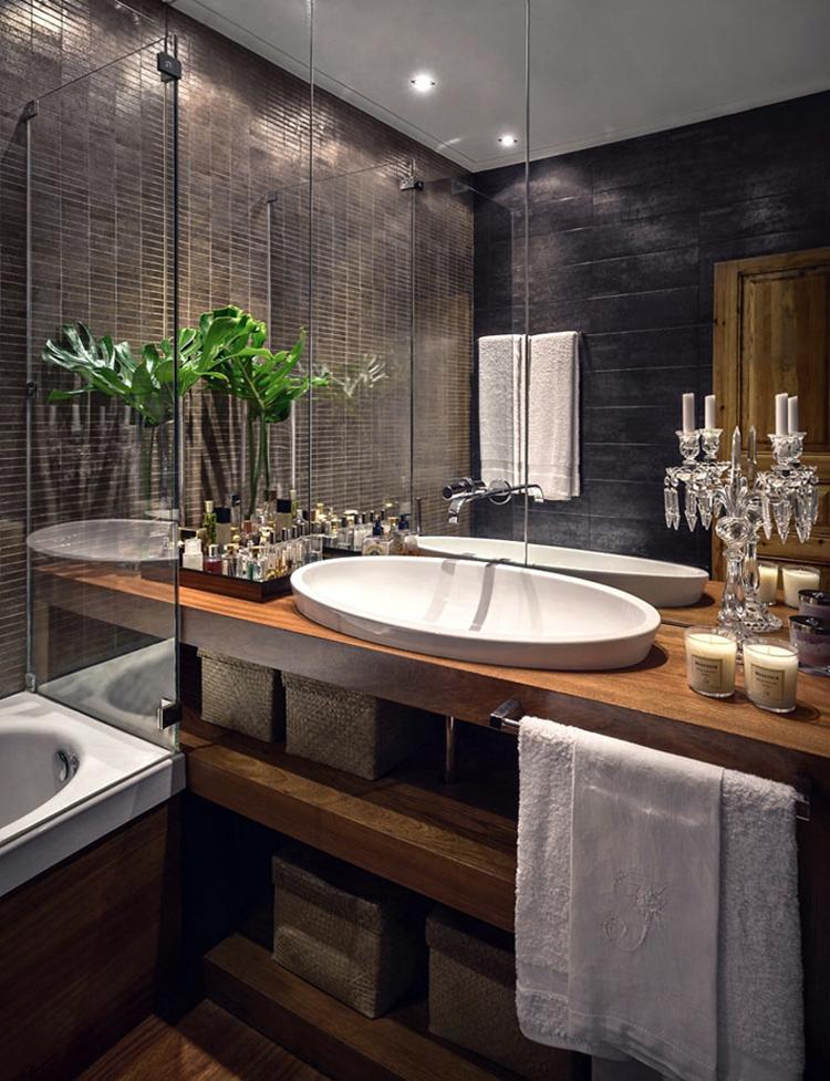 Вариант оформление ванной комнаты «под дерево»