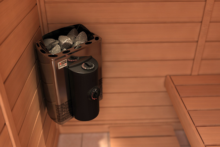 Для компактного помещения парилки на 2-3 человека достаточно небольшого объёма на 20-25 кг