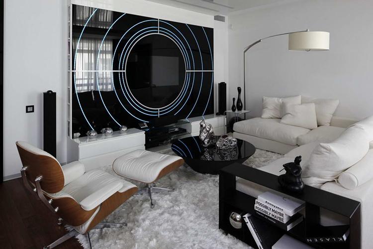 Комната с мягкой мебелью, оформленная в стиле хай-тек