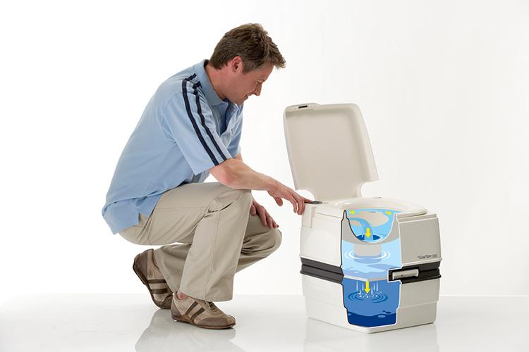 Для переработки отходов и устранения запаха, внутрь заливается жидкость