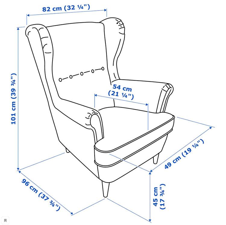 Основные габаритные размеры традиционного «классического» кресла