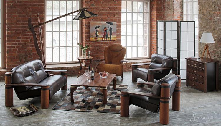 Мягкая мебель в стиле лофт, отличается довольно габаритными размерами и пригодна для помещений большой площади