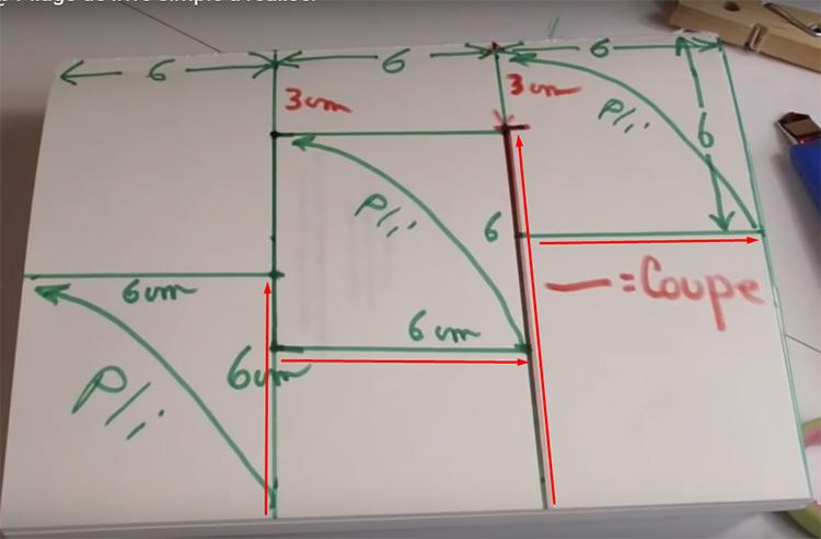 Теперь разметка будет более сложной. Вам нужно нарисовать на каждом ярусе вот такие ступеньки. Главная мысль в том, что у вас должны получиться 3 ровных квадрата, соединяющихся между собой, как ступеньки с шагом в полквадрата. Красными линиями мы отметили места разрезов и надрезов