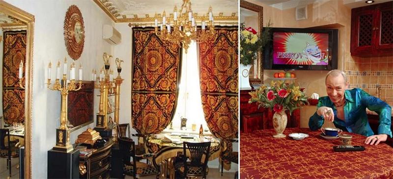 Лепнина на потолке также выкрашена золотым цветом