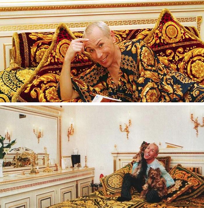 Кровать артиста украшает покрывало ручной работы