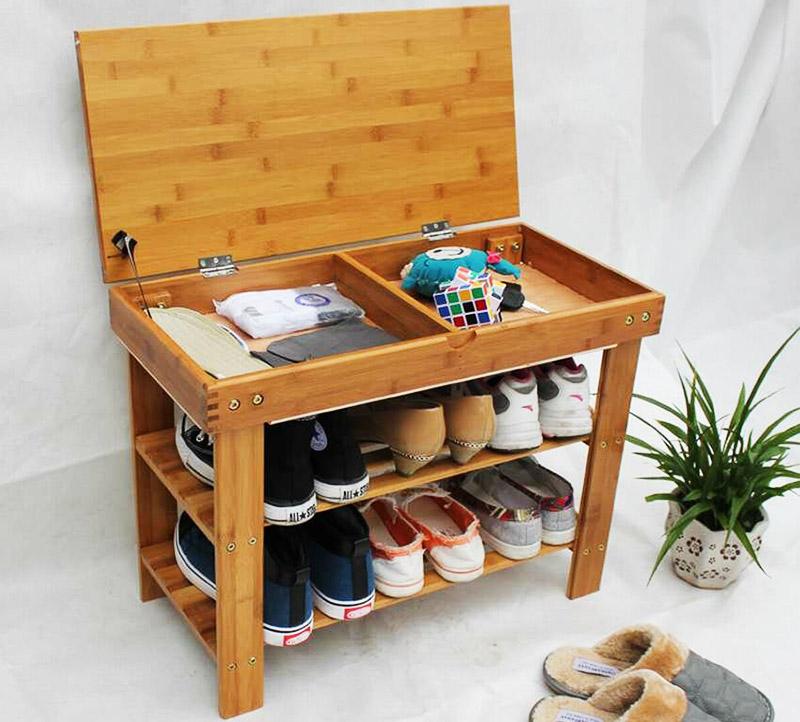 Если сделать крышку этажерки отрывающейся, то под ней можно разместить небольшие ящики для мелочей. Здесь поместится ложка, крем для обуви, щётка и сухие стельки на смену