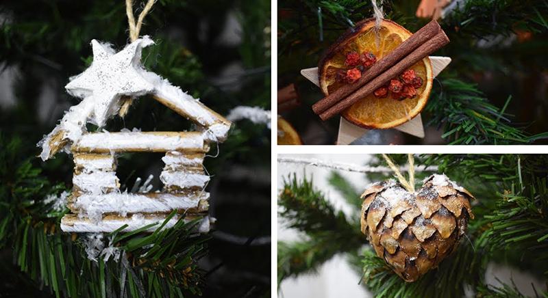 Можно сделать декор из специй, шишек, веточек, засушенных фруктов