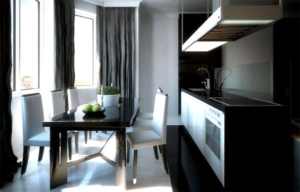 Белоснежные мягкие стулья с высокими спинками смягчают чёрное оформление кухонно-обеденной зоны