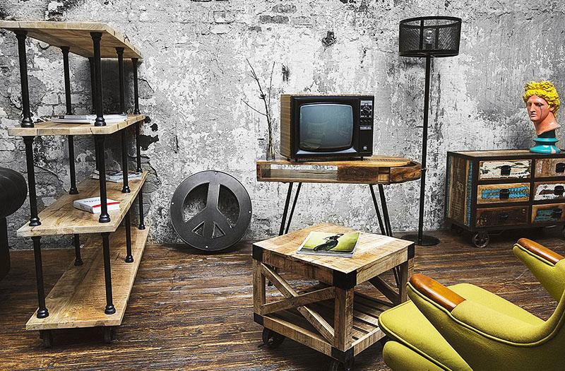 Для создания мебели в стиле лофт подойдут даже отходы строительных материалов и обрезки труб