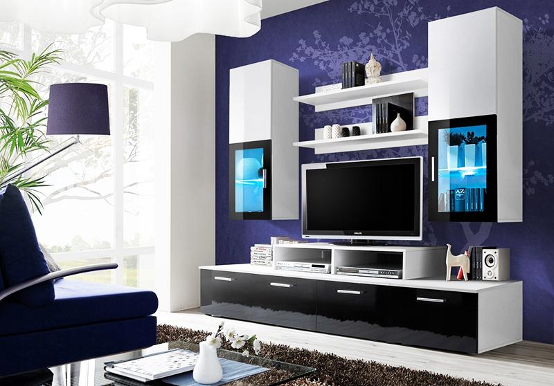 Стенка для теле-видеоаппаратуры с подсветкой витрин