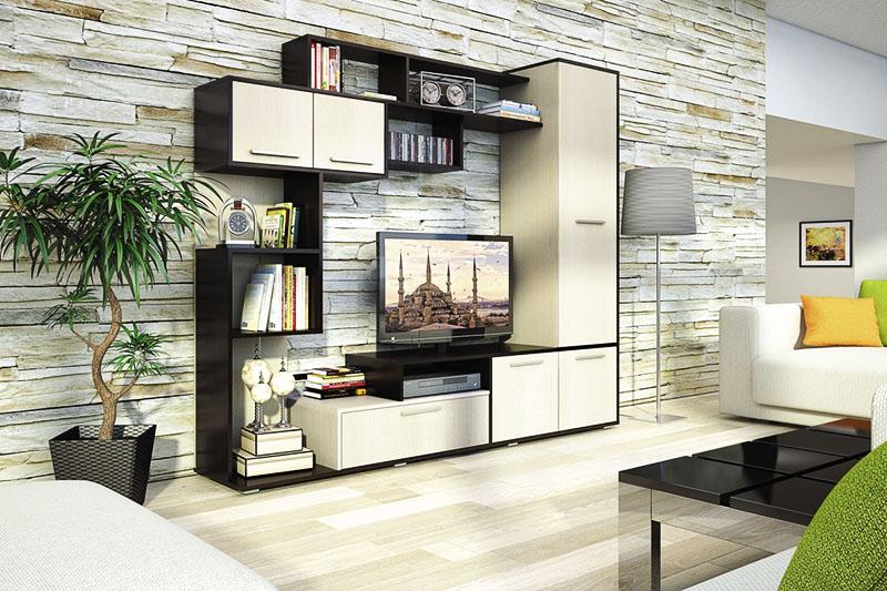 Современные модули для ТВ в гостиной зоне