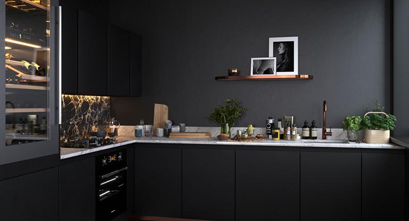 В такой кухне не просто мрачно и уныло, здесь явно не хватает дополнительной подсветки рабочей зоны и навесных шкафчиков