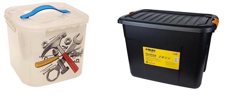 Как правило, контейнеры выполняются из ударопрочной пластмассы и используются для стационарного хранения негабаритных инструментов