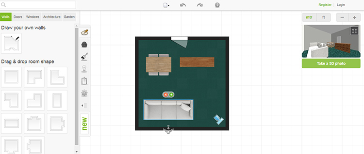 Скрин работы сервиса Roomstyler.com