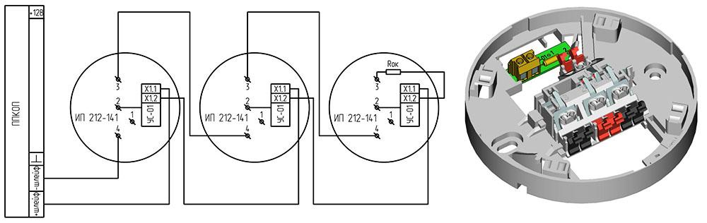 Принципиальная схема объединения в шлейф неадресных пожарных детекторов
