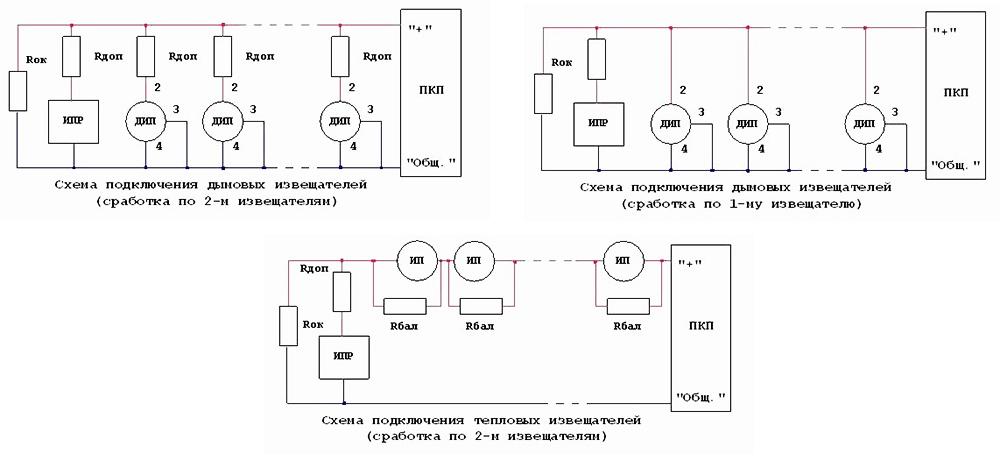 Схема подключения дымовых и тепловых пожарных детекторов при срабатывании на один и два прибора