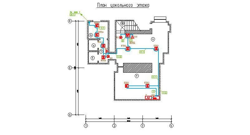 Рабочая схема монтажа пожарных извещателей