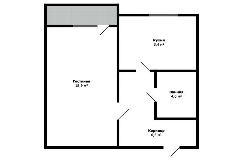 Обстановка однокомнатной квартиры 38 м² от ИКЕА