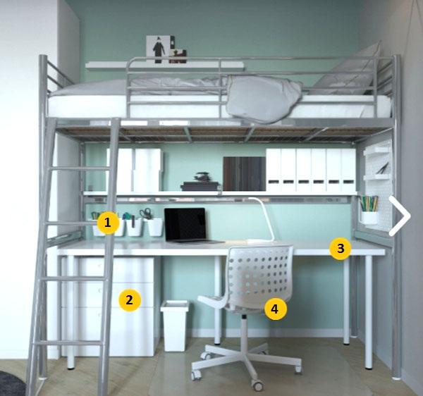 Рабочая зона и зона отдыха с каркасной кроватью