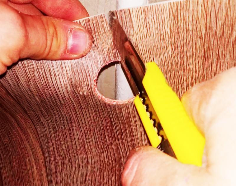 Сделать прорезь перпендикулярно линии среза