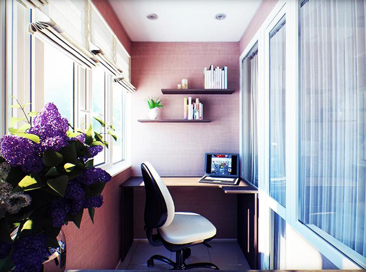 Чтобы превратить балкон в рабочий кабинет или зону отдыха, утеплите стены самым простым и дешёвым материалом – изоспаном