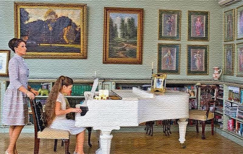 В зоне библиотеки поставили белоснежный рояль, за которым музицирует дочь актрисы