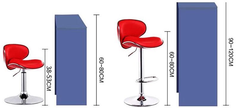 Барный стул должен быть ниже стойки в среднем на 300 мм