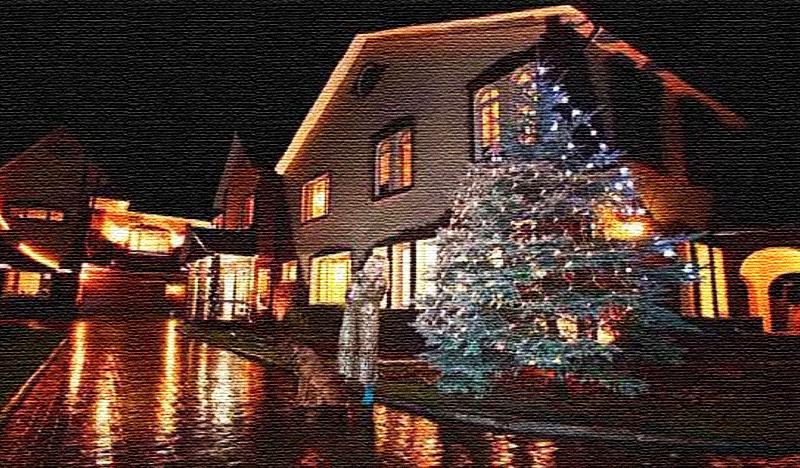 Под Новый год Ирина Аллегрова наряжает ёлку, растущую под окнами и украшает фасад дома светодиодными гирляндами