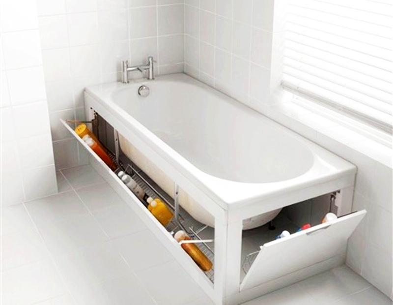 Откидные монтируются вдоль и в торце ванны