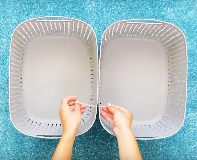 Чтобы соединить корзины между собой, используйте пластиковые стяжки, их тоже можно купить в Фикспрайсе