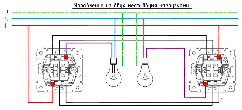 Это лишь схематическое изображение, дающее общее представление о проходных переключателях