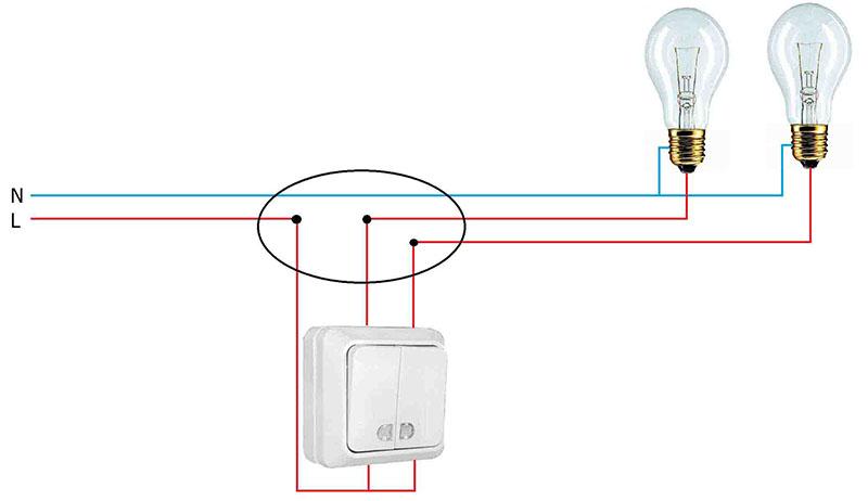 Простейшая схема подключения двухклавишного выключателя на две лампочки